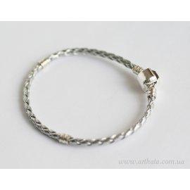 Основа браслет плетеный серебряный 18 см без лого