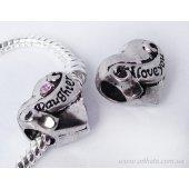 Бусина сердце Дочь Я Люблю Тебя с розовым камушком