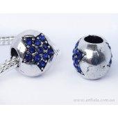 Бусина шарик паве с синей звездой