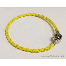 Основа браслет плетеный желтый 18 см с лого