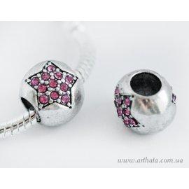 Бусина шарик паве с розовой звездой