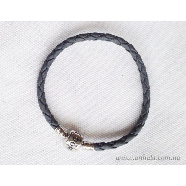 Основа браслет плетеный серый 16 см с лого
