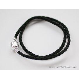 Основа браслет плетеный черный без лого 36 см