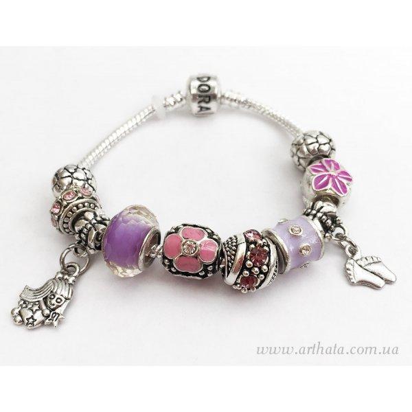Браслет Сиренево-розовый цветочный