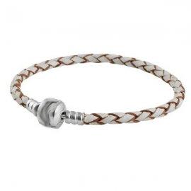 Кожаный браслет с клипсой 925 Светло-серый 20 см