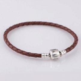 Кожаный браслет с клипсой 925 20 см Коричневый