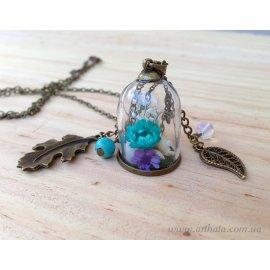 Кулон мини-бутылочка Бирюзовый оазис