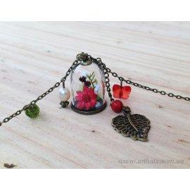 Кулон мини-бутылочка Огненный цветок