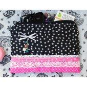 Косметичка черно-розовая со звездами