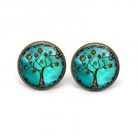 Серьги с кабошоном Голубые с цветущим деревом