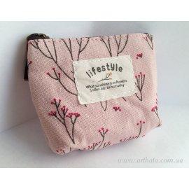 Кошелечек тканевый розовый