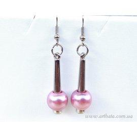 Серьги с бусинами розовые круглые жемчужинки