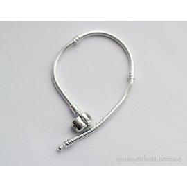 Серебряный браслет 20 см с клипсой 925 светлый змейка
