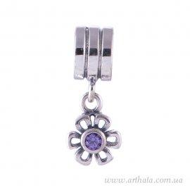 Подвеска Цветочек фиолетовый, серебро