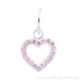 Подвеска Розовое сердечко с камушками, серебро